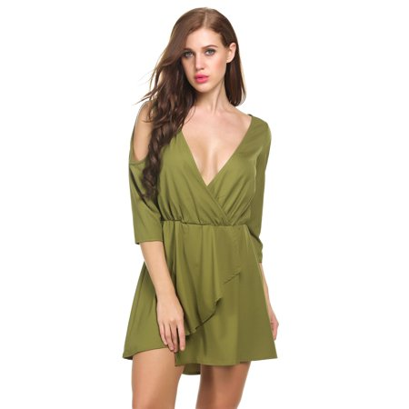 Womens Sexy Casual T Shirt Dresses Cold Shoulder Tunic Plus Size Top Swing Dress Sundresses