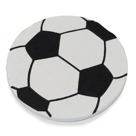 Wooden Hand Painted Soccer Ball Cut Out 3.25 Inches