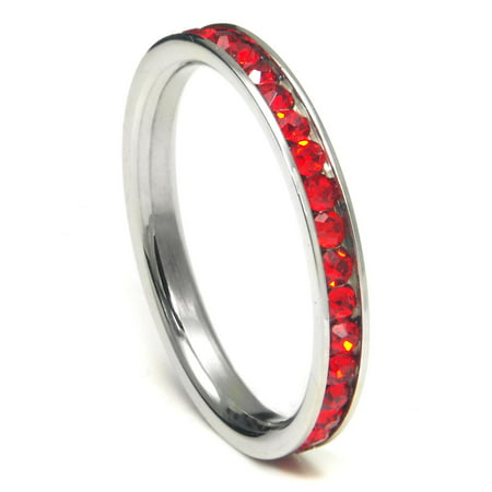 316L Stainless Steel Ruby Red Cubic Zirconia CZ Eternity Wedding 3MM Band Ring Sz 8