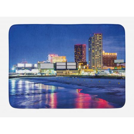City Bath Mat, Resort Casinos on Shore at Night Atlantic City New Jersey United States, Non-Slip Plush Mat Bathroom Kitchen Laundry Room Decor, 29.5 X 17.5 Inches, Violet Blue Pink - Casino Night Decor