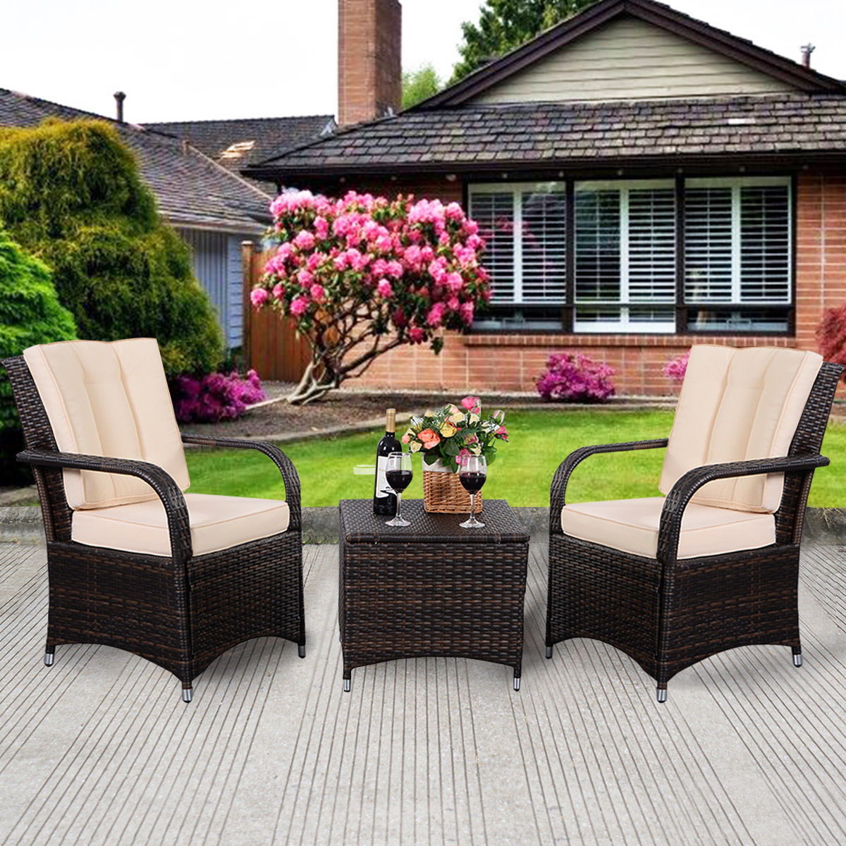 costway 3 pcs outdoor patio pe rattan wicker furniture set seat cushioned mix brown