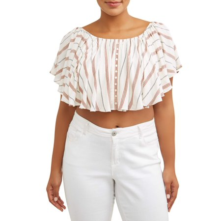 Ivory Flutter Sleeve Top - Women's Plus Size Scoop Neck Flutter Sleeve Blouse