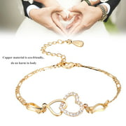 EECOO Barefoot Bracelet,Women Lady Ankle Barefoot Heart-shaped Decoration Copper Plated Bracelet Chain Plated Anklet