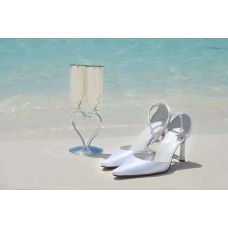 LAMINATED POSTER Beautiful Beach Wedding Glasses Bridal Shoes Poster 24x36 Decal