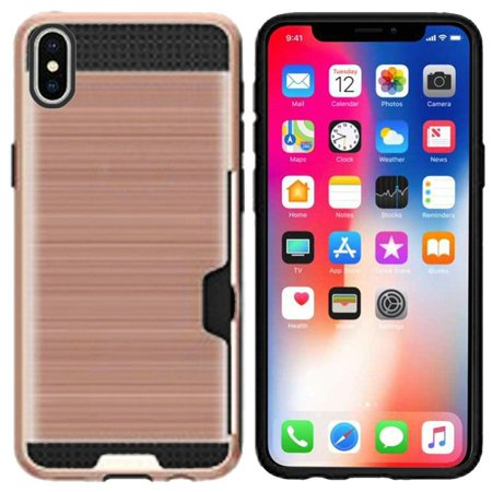 Apple iPhone X XS Case, by HR Wireless Hard Plastic/Soft TPU Rubber with Card Holder Slot Case Cover For Apple iPhone X