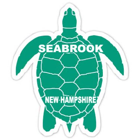 "Seabrook New Hampshire Souvenir 4"" Green Turtle Shape Decal Sticker"