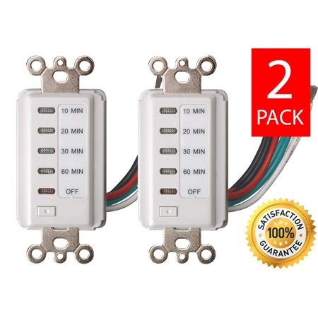 Bathroom Fan Auto Shut Off 60-30-20-10 Minute Preset Countdown Wall Switch Timer White 60-Minute [2 PACK]