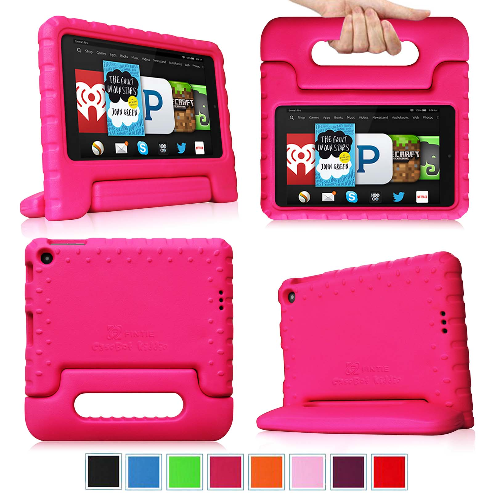 Fintie Light Weight Shock Proof Handle Case for Kids Specially made for Kindle Fire HD 6 2014 Oct Release, Magenta