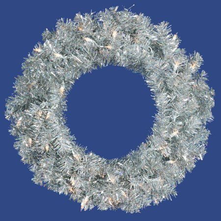 "24"" Pre-Lit Silver Sparkling Tinsel Artificial Christmas Wreath - Clear Lights"