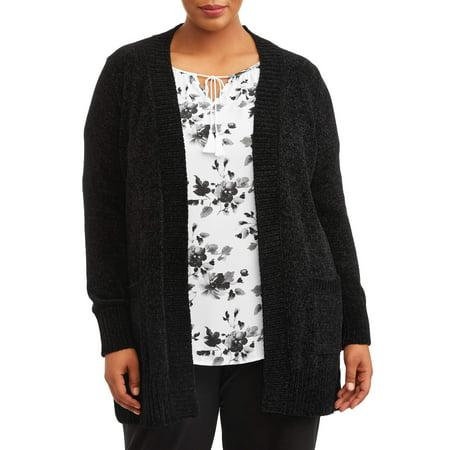 Terra   Sky - Terra   Sky Women s Plus Size Chenille Two-Pocket Cardigan -  Walmart.com 281a71b30
