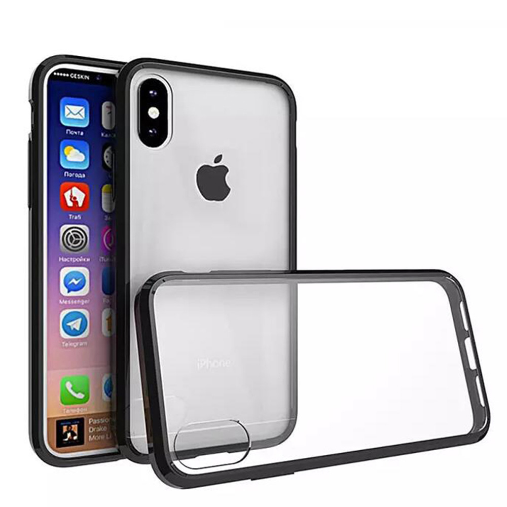 iPhone X Case, Premium Ultra Slim Crystal Transparent Clear Hard Back Case ShockProof Black TPU Bumper for Apple iPhone X - Slim Fit, Drop Protection, Raised Bezels, Protection Around Camera Lens