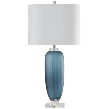 Acrylic Modern Table Lamp - StyleCraft Nicosia Blue Transitional Ribbed Glass and Clear Acrylic Table Lamp