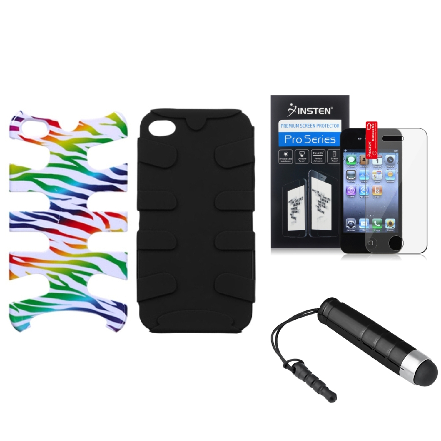 Insten Colorful Zebra /Black Fishbone Phone Case Cover Film Mini Pen For iPhone 4S/4