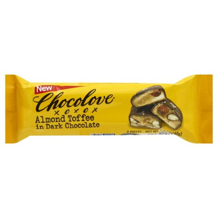 Chocolove Xoxox Bar - Almond Toffee - Dark Chocolate - Case Of 12 - 1.41 Oz