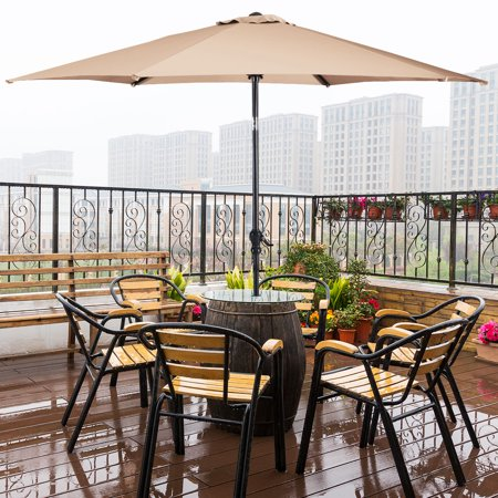 Costway 10FT Patio Umbrella 6 Ribs Market Steel Tilt W/Crank Outdoor Garden Beige - Stand not included!