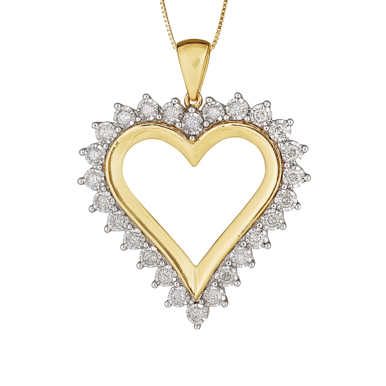 Diamond 1ct Heart Pendant in 10k Yellow Gold by Diamond Direct LLC