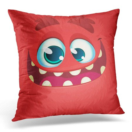 USART Character Cartoon Monster Face Halloween Red Avatar with Wide Smile Cute Pillow Case Pillow Cover 20x20 inch for $<!---->