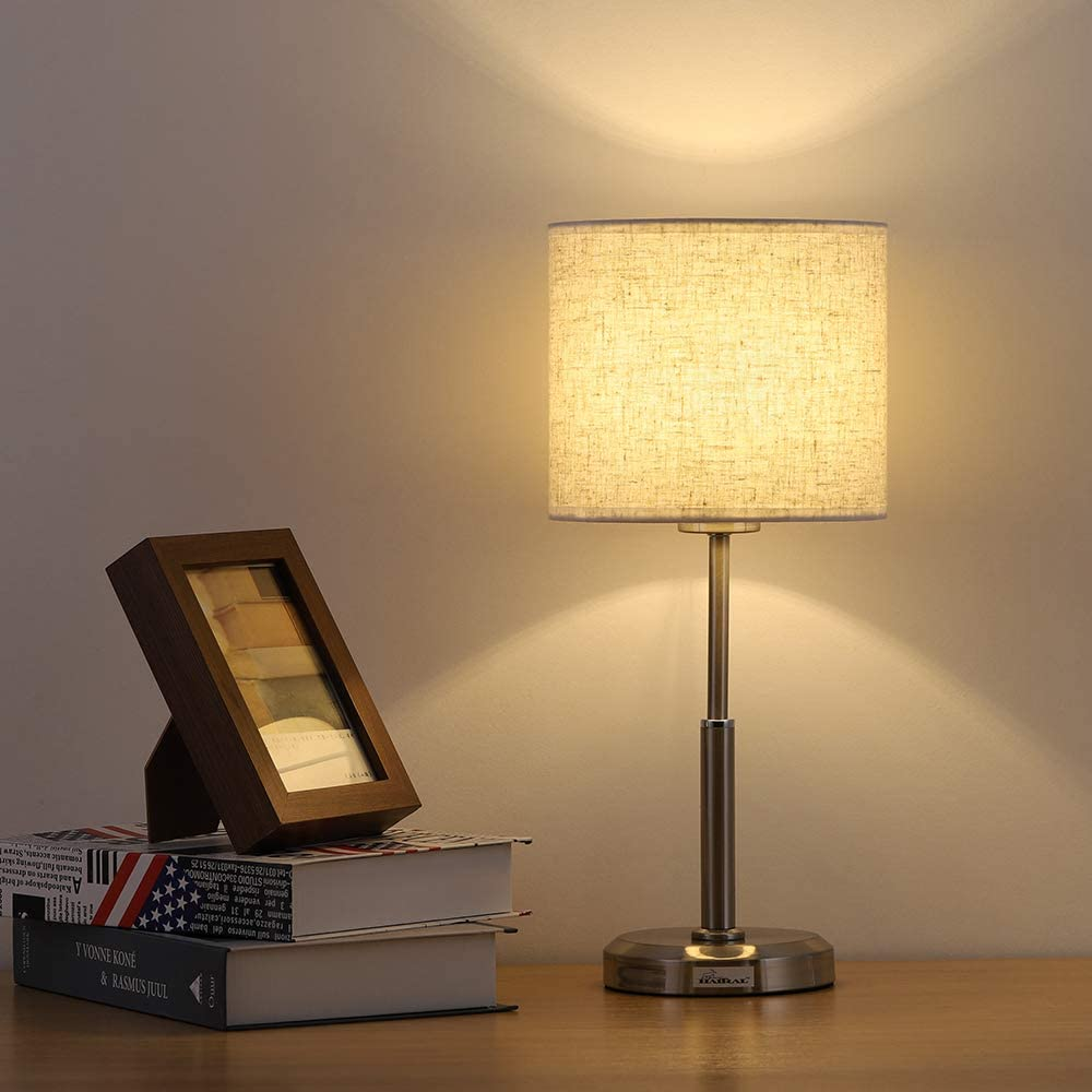Small Table Lamp - Brushed Steel Bedside Lamp with Linen ...