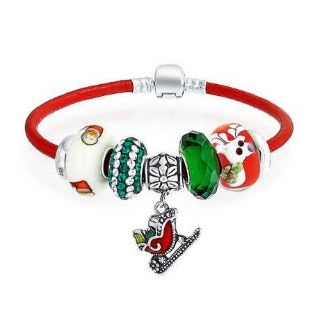 Christmas Holiday Santa Sleigh Themed Bead Charm Bracelet Red Genuine Leather For Women Sterling Silver Barrel Clasp