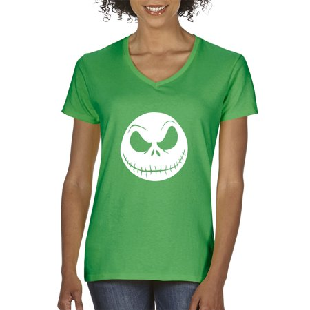 North Face Womens Light - New Way 1122 - Women's V-Neck T-Shirt Nightmare Before Christmas Jack Skelleton Face 2XL Kelly Green
