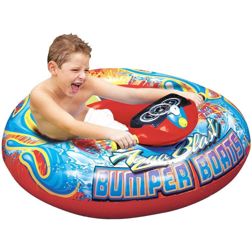 Banzai Aqua Blast Inflatable Motorized Water Blaster Bumper Boat for Kids by
