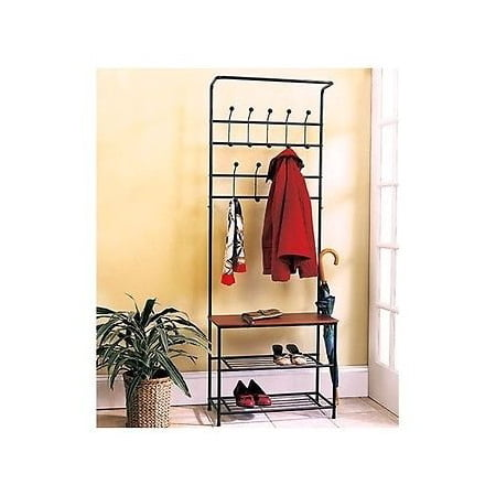 Mudroom Bench - Coat & Hat Racks Entryway Storage Bench Coat Rack Black Metal Wood Seat Shelf Hall Tree Rustic