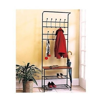 Coat U0026amp; Hat Racks Entryway Storage Bench Coat Rack Black Metal Wood Seat  Shelf Hall