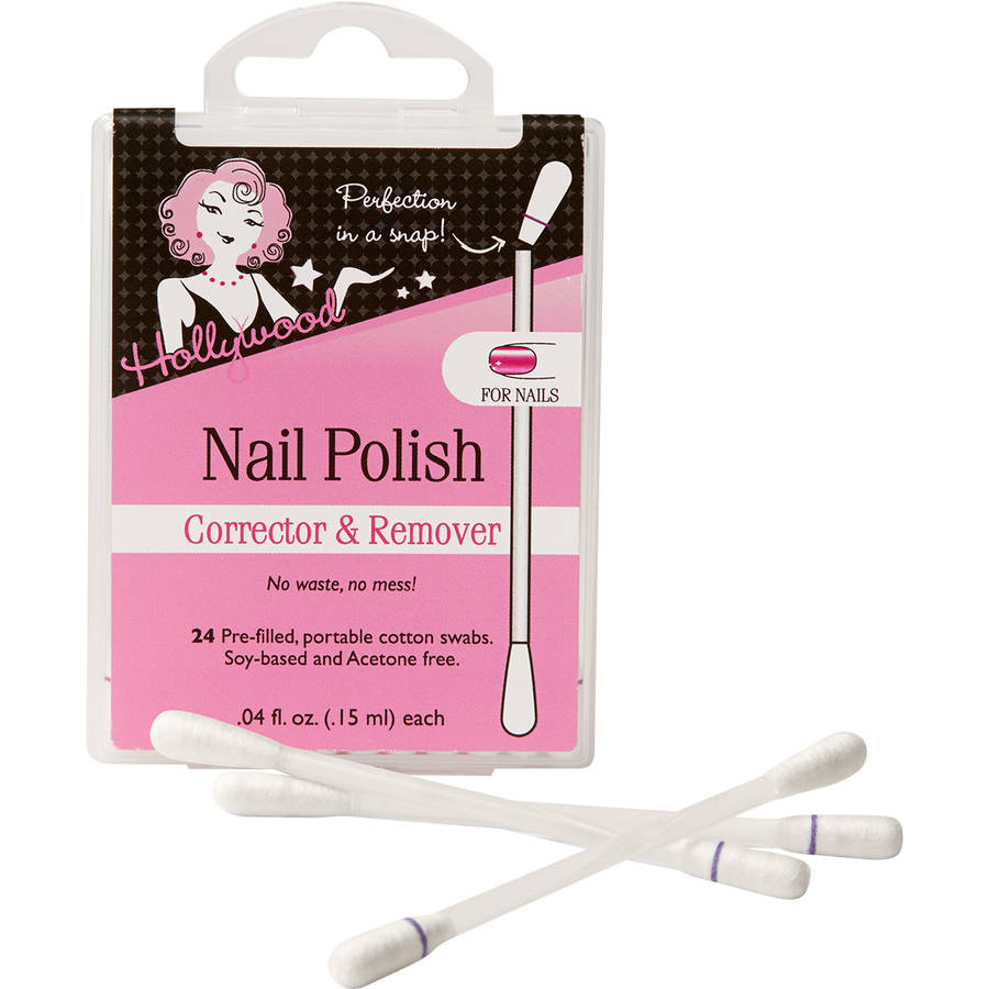 Hollywood Nail Polish Corrector & Remover Cotton Swabs, 0.4 fl oz, 24 count