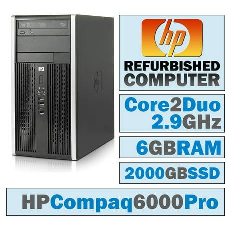 REFURBISHED HP Compaq 6000 Pro MT/Core 2 Duo E7500 @ 2.93 GHz/6GB DDR3/NEW 2000GB SSD/DVD-RW/WINDOWS 10 HOME 64