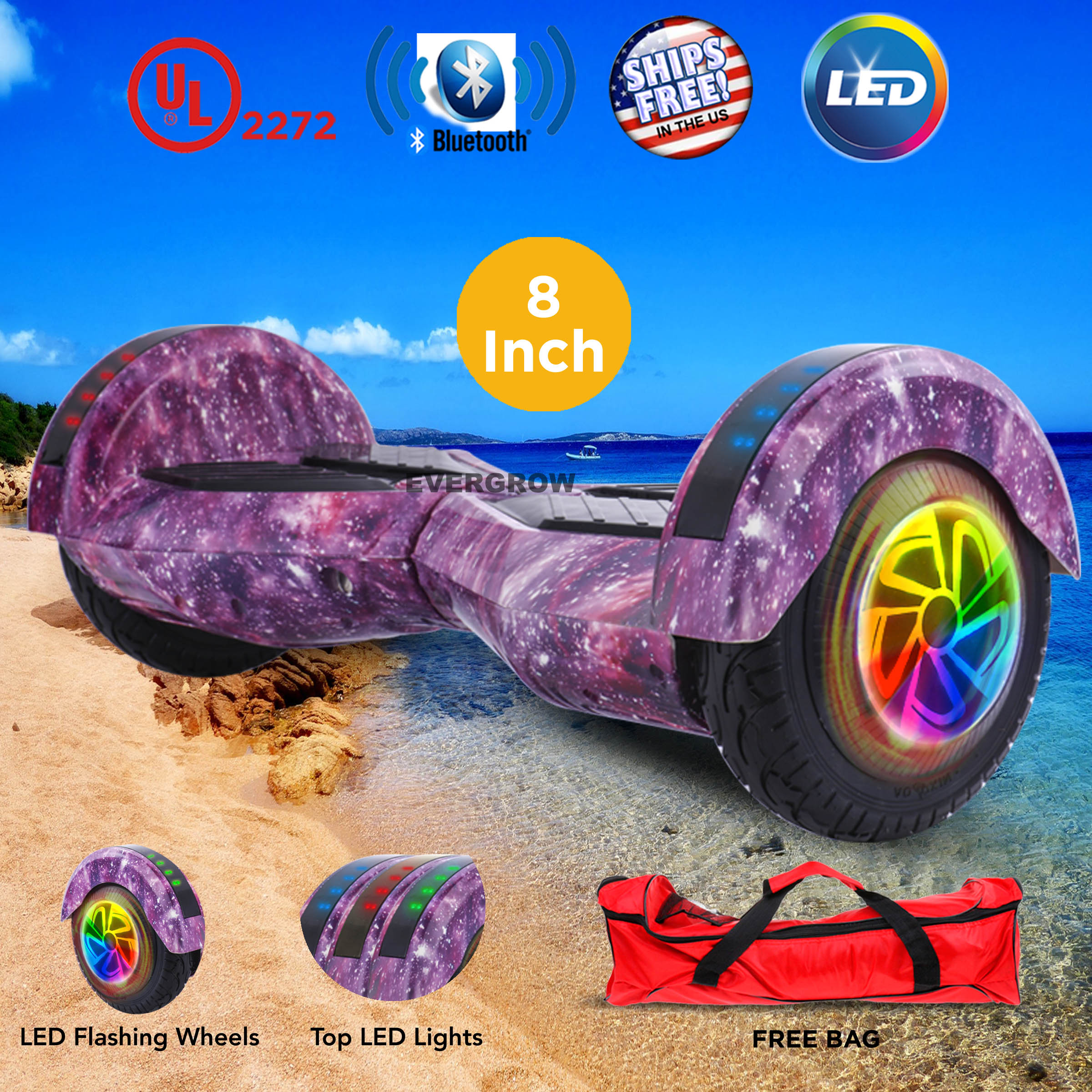"""UL 2272 Certified 8"""" Hoverboard Smart Balance Scooter with Bluetooth FREE Bag (WHEELS-WC8-GALAXY)"""