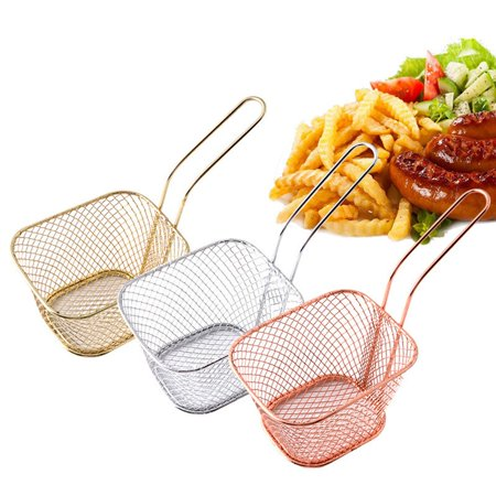 Kitchen Cooking Tools Mini Stainless Steel French Fries Net Fry Fryer Basket Small Square Shape Kitchen Basket - image 6 de 6
