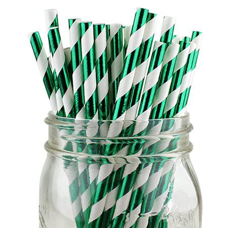 Green Striped Paper Straws (Just Artifacts 100pcs Decorative Striped Paper Straws (Striped, Metallic Kelly)