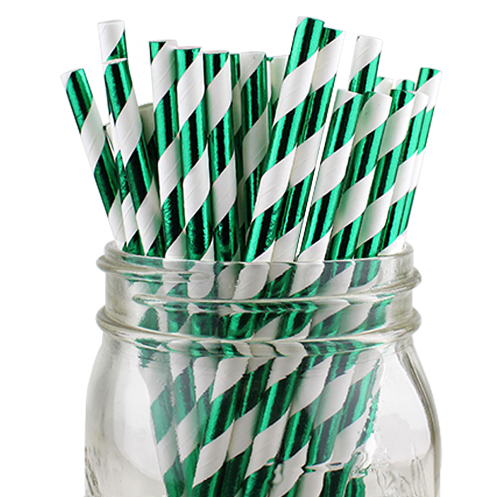 Just Artifacts 100pcs Decorative Striped Paper Straws (Striped, Metallic Kelly Green)