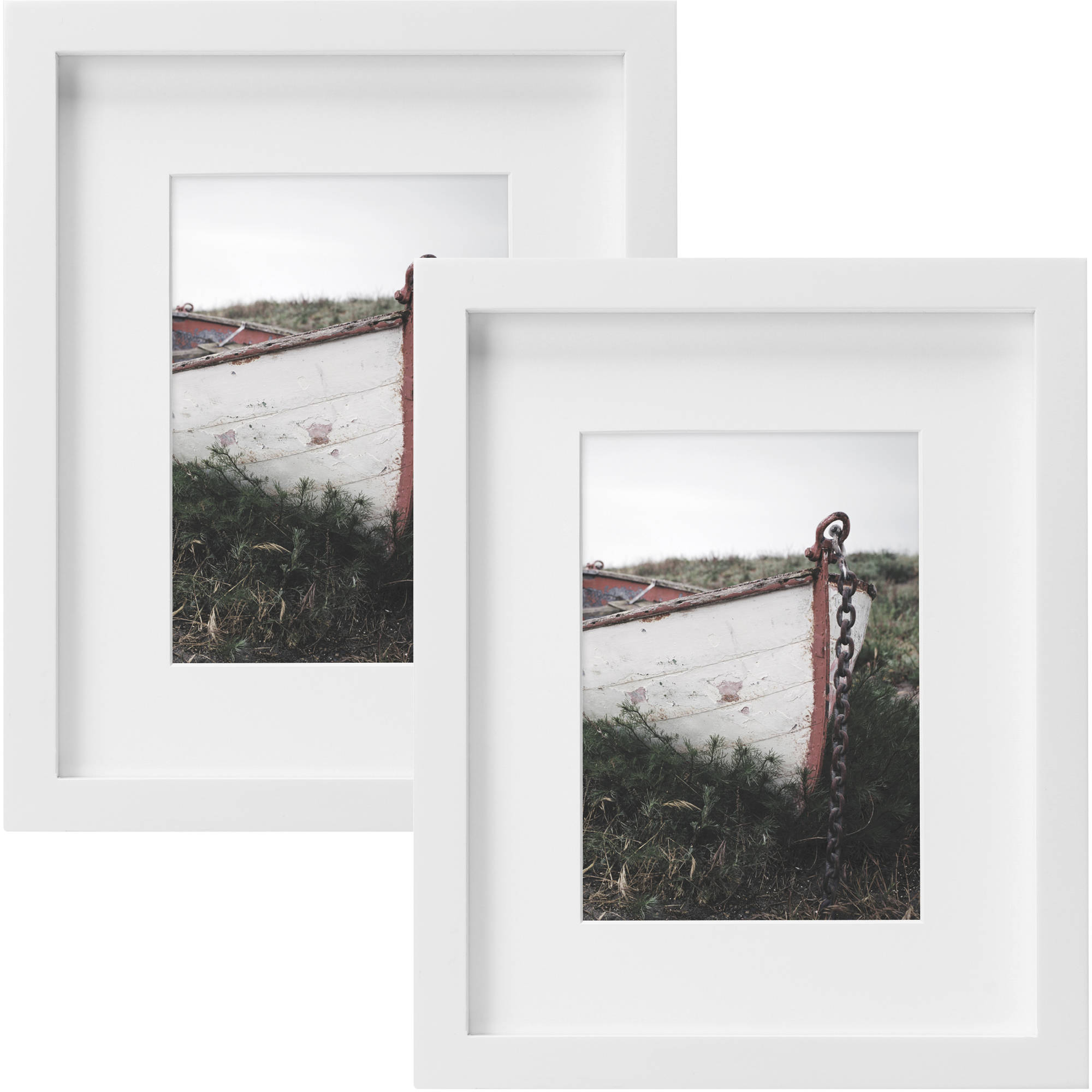 "Better Homes and Gardens Gallery 8"" x 10"" (20.32 cm x 25.4 cm) Matted to 5"" x 7"" (12.7 cm x 17.78 cm) Picture Frame, White, Set of 2"