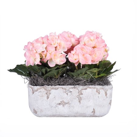 """Vickerman 10"""" Pink Begonia in Cement Rectangle"""