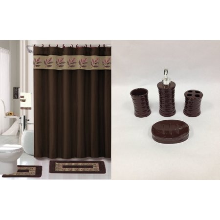 chocolate brown bathroom accessories. 22 Piece Bath Accessory Set Chocolate Brown Bathroom Rug  Shower Curtain Accessories