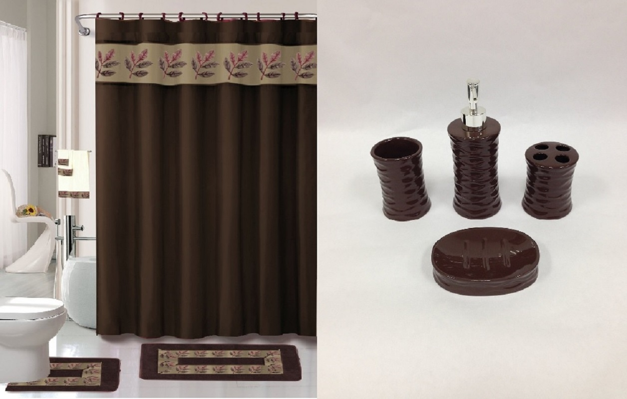22 piece bath accessory set chocolate brown bathroom rug set shower curtain u0026 accessories