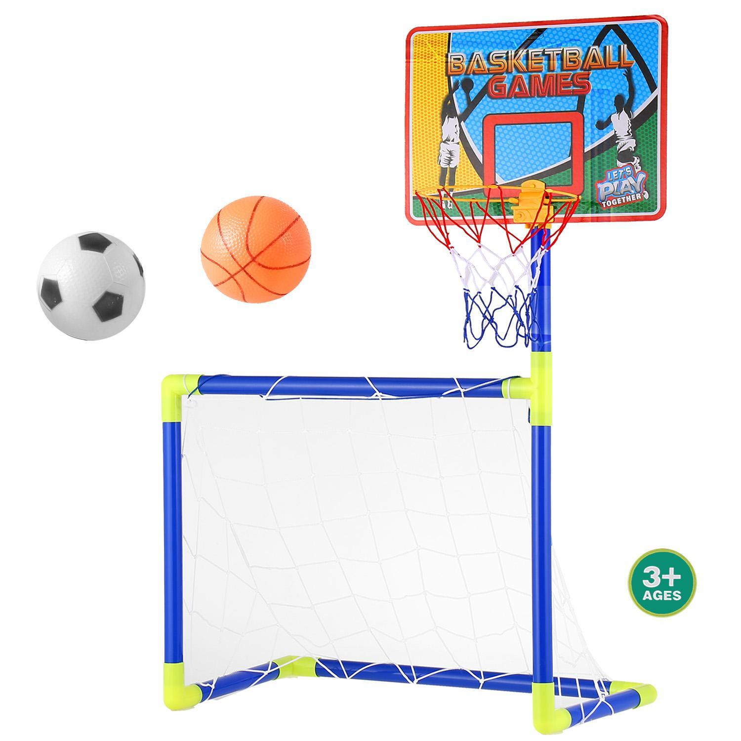 Elecmall 2 in 1 Creative Football Basketball Rack Stand Sports Set by
