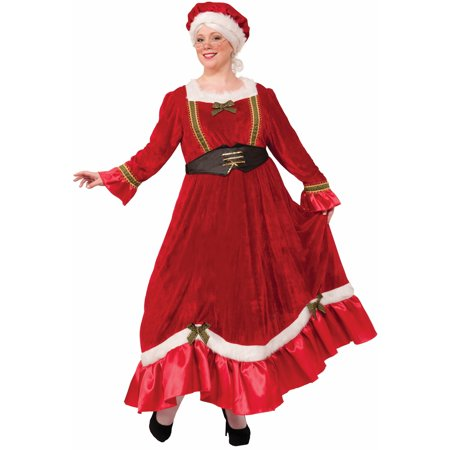 Womens Curvy Mrs. Claus Traditional - Traditional Mrs Claus Costume