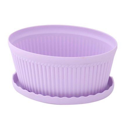 Plastic Oval Flower Cactus Plant Pot Tray Holder Container Ornament Light Purple ()