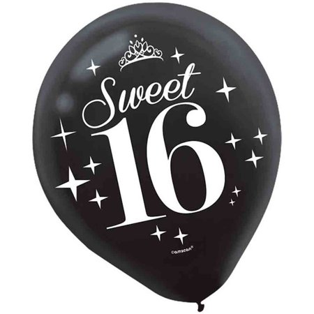Chic Sweet Sixteen Birthday Celebration Latex Balloon Party Decoration (6 Pack), Multi Color, 12