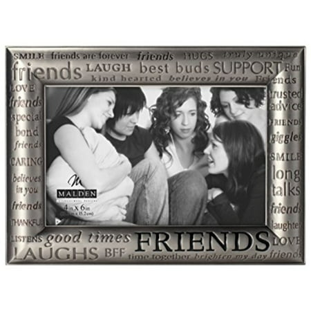Malden International Designs Modern Pewter Metal Diecast Friends Expressions Picture Frame, 4x6,