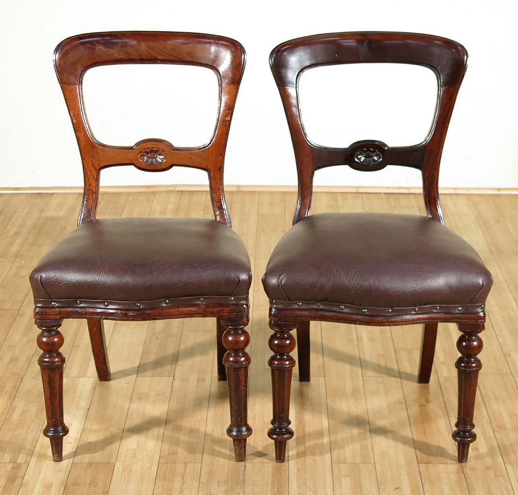 c1870 Pair of 2 Antique Solid Mahogany Victorian Side Cha...
