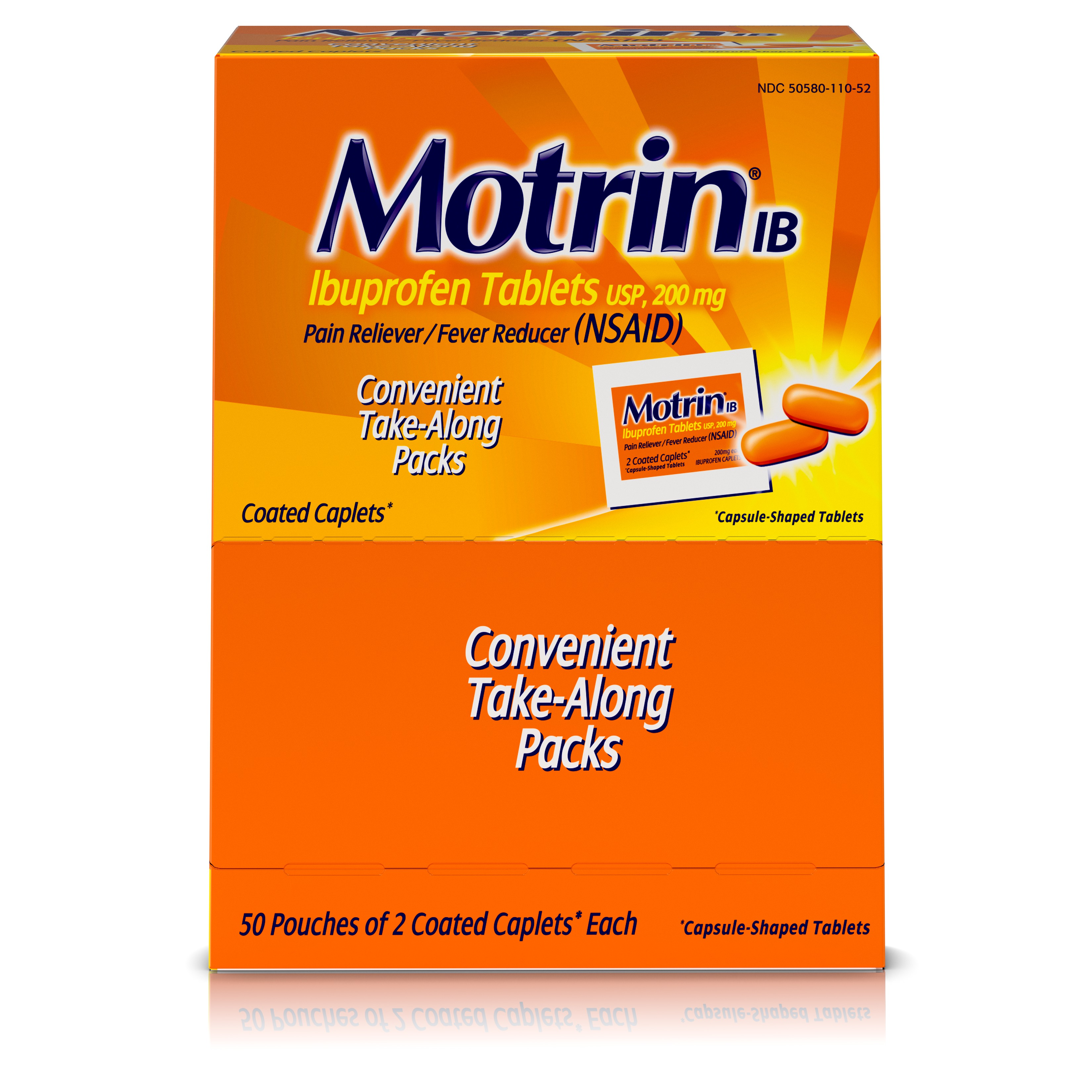 Motrin IB Liquid Gels, Ibuprofen, Aches and Pain Relief, 50 Count, Pack of 2
