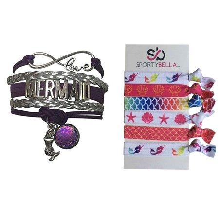 Mermaid Charm Infinity Bracelet and Hair Ties Set, Pink Mermaid Jewelry Bracelet, Mermaid Gift Set, Mermaid Jewelry, Mermaid Hair Ties, (Pink Mermaid Charm)