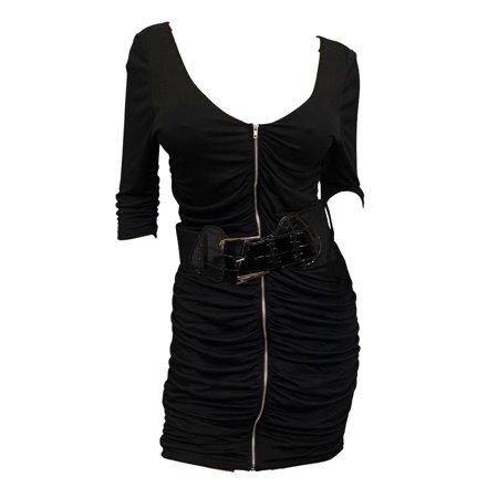 eVogues Plus Size Zipper Front Belt Accented Mini Dress Black Accent Mini Dress