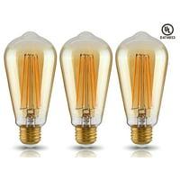LED ST19 Vintage Filament Light Bulb, ST64 S21 Antique Edison Bulb, 4W (40W Equivalent), 2200K Soft White, 400Lm, E26 Medium Base, UL-Listed, 2 YEARS WARRANTY, Pack of 3