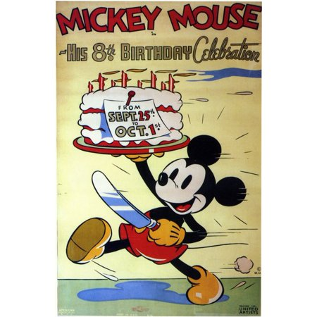 Mickey Mouse in His 8th Birthday Celebration POSTER Movie Mini Promo (Mini Mouse Birthday)