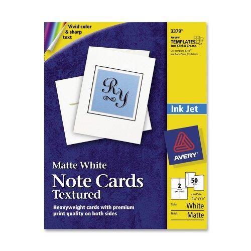 "Avery Note Card - 4.25"" X 5.50"" - Matte - 50 / Box - White (AVE3379)"