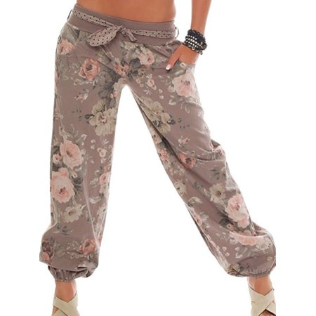 Women Boho Floral Baggy Trousers Harem Pants Casual Loose Wide Leg Yoga Pants